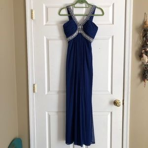 Size 2P XSCAPE royal blue prom dress with beading